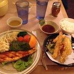 Salmon teriyaki and tempura