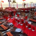 group dinner setup on the beach