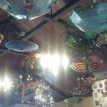 Christmas ceiling display at Kilauea Lodge
