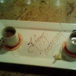 Roman style aerated hot chocolate over mascarpone gelato