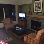 Living area c/w fireplace