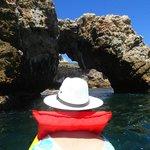 kayaking through sea arches on Isla Marietas