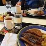 Roast lamb, salad and tea