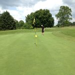 On the green at the 14th, sorry man that is a long way! Birdie!