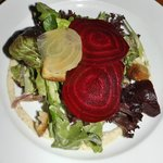 Mixed green salad - roasted beets, walnuts, blue cheese, grainy mustard dressing
