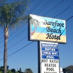 Sign for Barefoot Beach Hotel