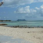 view of cruise ship from the Krazy Lobster beach.