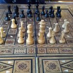 The chess table in the parlor