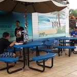 Outside table with mural