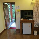 Wifi, wide-screen TV, fridge, and dvd player.  No movies in English, however.