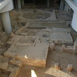 Transparent floor provides view of the archaeological excavation