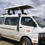 Kenya safari in a van four wheel drive.
