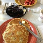 Banana pancakes and strawberry pancakes - very filling