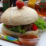 my lovely beefburger - with a strawberry on top!