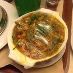 Curry with cling film to keep warm!!