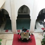 A view of the ground floor courtyard from our suite