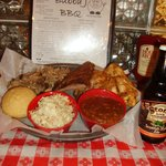 Pick 3 Platter, your choice of 3 meats, plus 2 sides and corn muffins or Texas Toast.