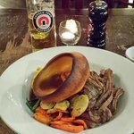 Sunday roast - beef brisket, potatoes, veg, and Yorkshire pudding