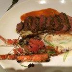 Sous vide steak with lobster