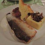 Filet de fera, polenta, champignons et tuile de parmesan