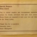 Notice in room, Panorama hotel