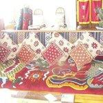 Sitting area on third floor with handwoven Tibetan rugs