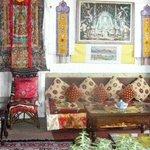Tibetan banners & hangings in eating area