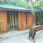 Surf shed is locked up for safety at night, rentals for a good price.