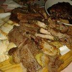 Misto carne con scamorza, patate e parmigiana di melanzane