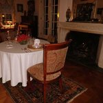 our anniversary dining table by the fireplace