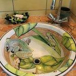 Bathroom sink detail in the Frog Room