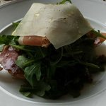 Arugula, pear, speck salad - Amazing!