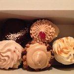 a ho-ho cupcake, PB&J, salted caramel, chocolate chip/peanut butter and strawberry/vanilla