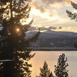 Sunset from the deck at Bennett Bay Inn
