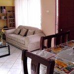breakfast table & living room