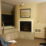 fireplace and jetted tub