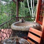 stone hot tub on the balcony