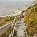 The stairs from cliff top to sea level.
