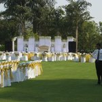 Rear View of Hotel from Grounds - Wedding setup