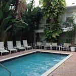 Le patio intérieur et la piscine