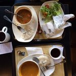 pumpkin soup, soup with sausages and vegetable sandwich