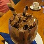 Delectable chocolate orange ice cream.