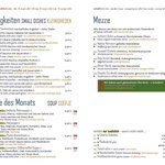 Our menu in German, English and Dutch / Onze menu in Duits, Engels en Nederlands