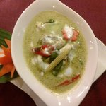 Green curry mixed seafood in coconut milk