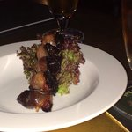 Bacon wrapped fried plums.