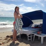 Drying off after a quick dip in front of my cabana!