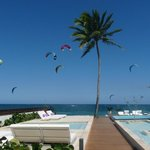 Kites are part of the skyline as seen from pools and deck.