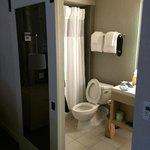 Bathroom with loud rolling door