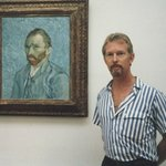 Me next to self portrait of Vincent van Gogh in Musee d'Orsay in 1985