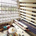 Monorail in atrium